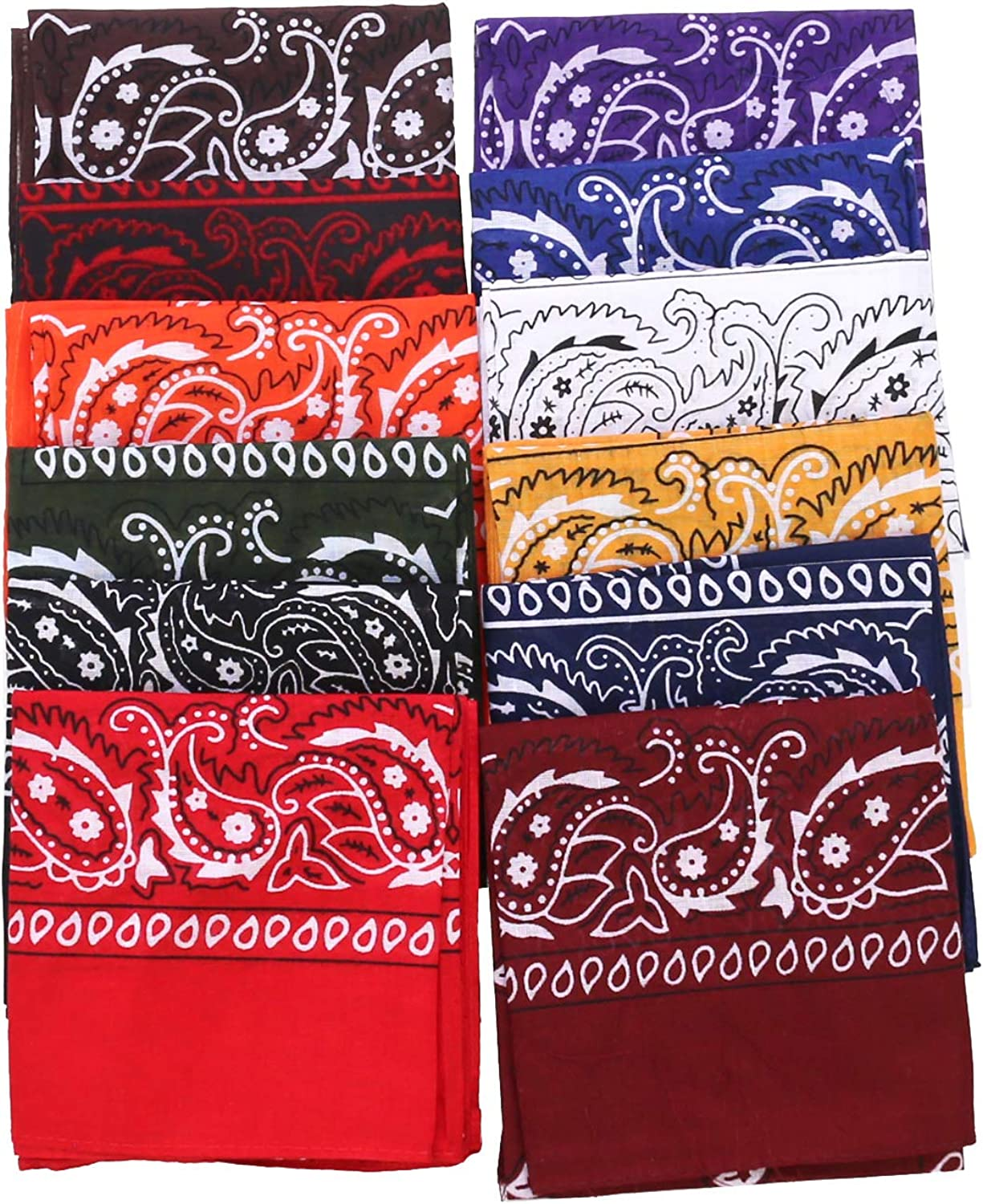 """Pack of 9 Cotton 100/% Bandana Assorted Bandanas 22/"""" x 22/"""" outdoor protection"""