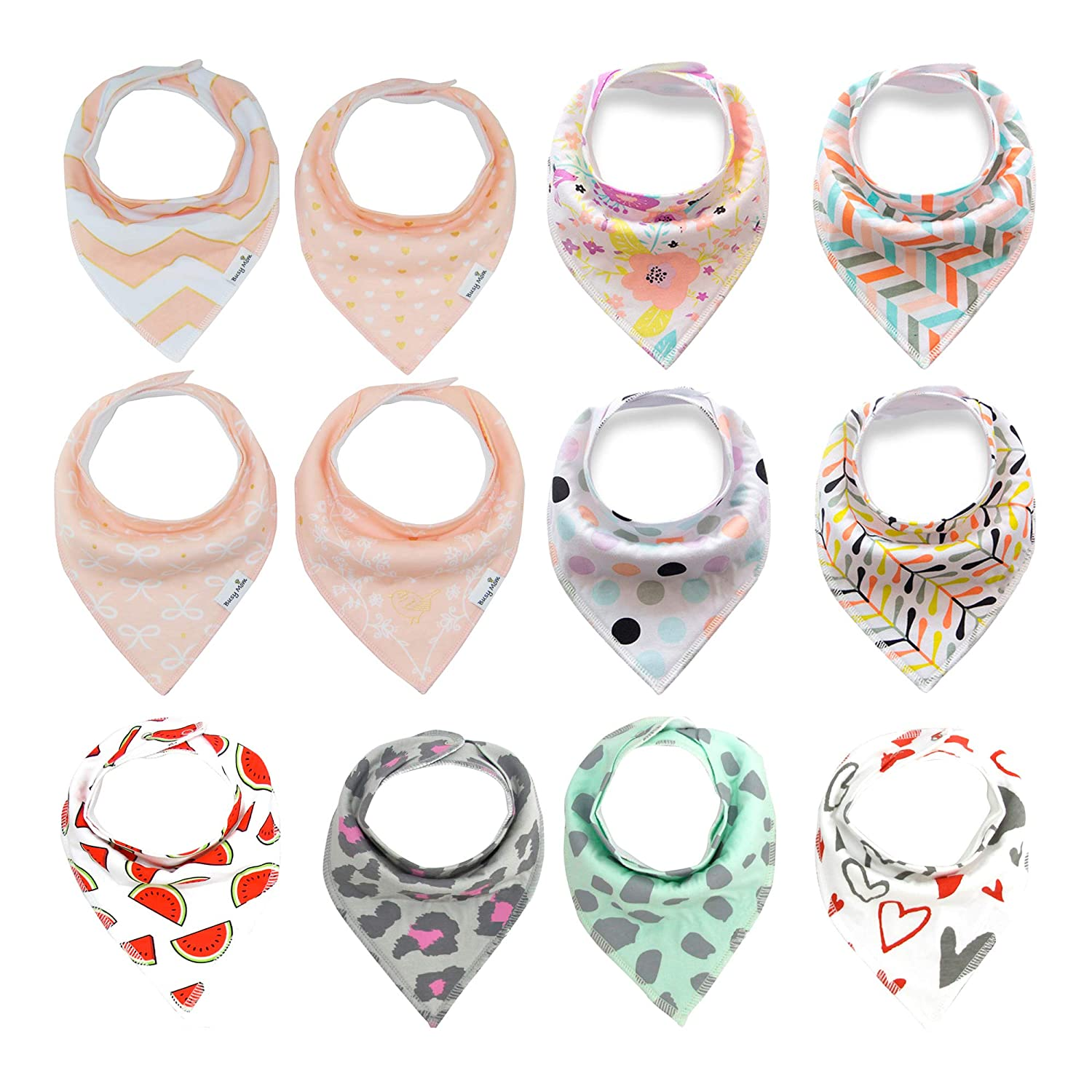 12 Pack Baby Bandana Drool Bibs Super Absorbent Cotton Feeding Bibs