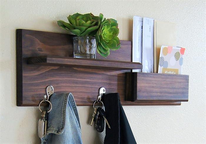 Wall Mounted Coat Rack And Magazine Rack Mail Storage Floating Shelf