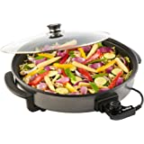 VonShef Large Multi Cooker 42cm Diameter 1500W with Glass Lid, Non-Stick Surface and Cool Touch Handles