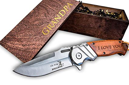 Amazon.com: Juego de cuchillo de bolsillo y caja de madera ...