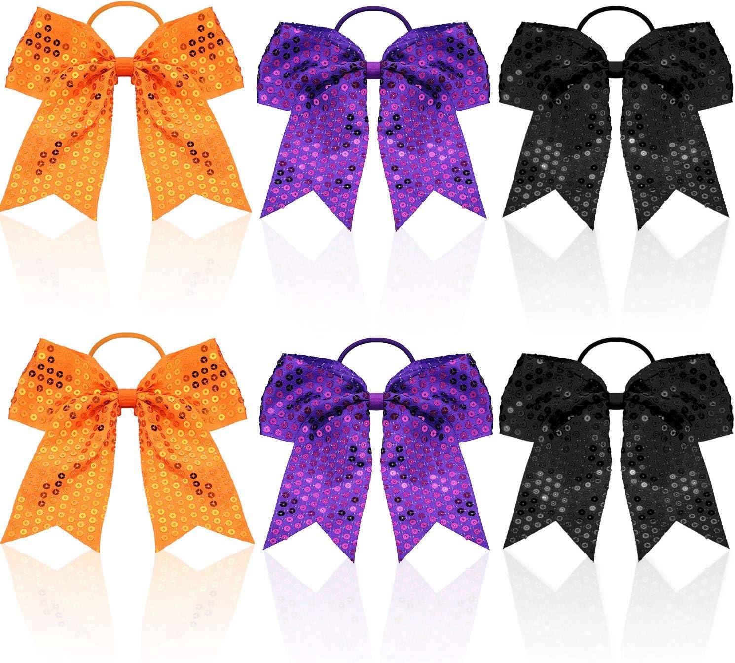 6 Piezas Lazos de Cabello de Animadora Brillantes de Halloween Soporte de Cola de Caballo con Lentejuelas Grandes para Mujeres Niñas Decoración de Disfraces de Halloween, 3 Colores