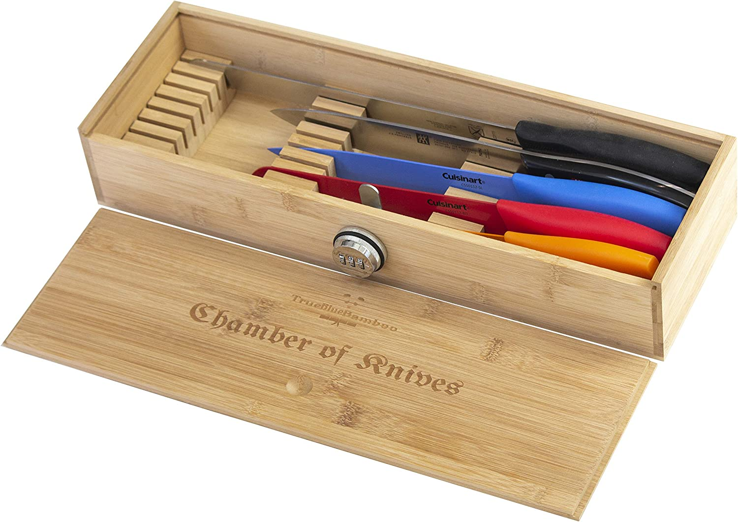In Drawer Bamboo Chef Knives/Kitchen Knives Organizer Box - with Kid Safety combination lock - Holds up to 25 Knives (Not included) - Knives storage with tips pointing down