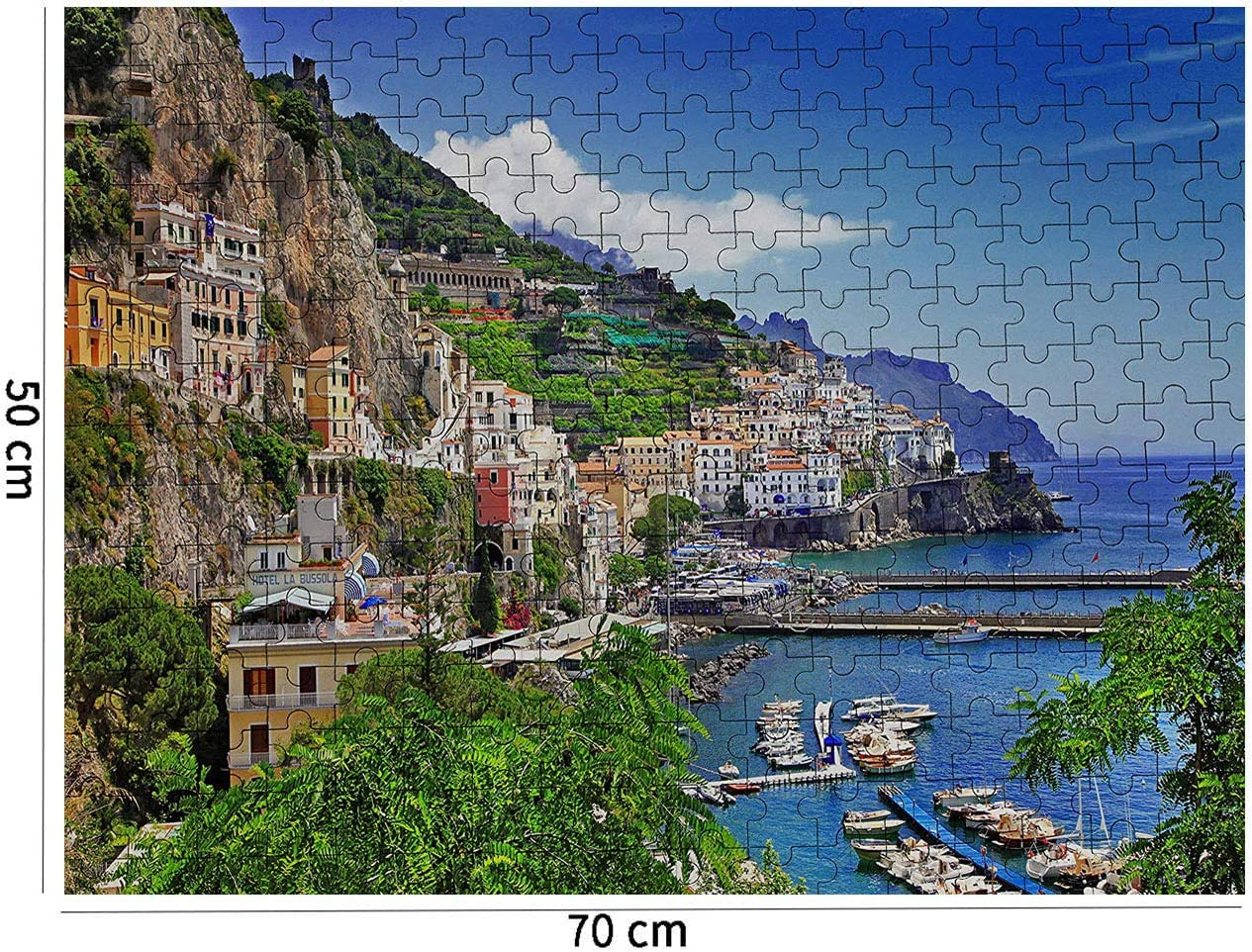 Famous European Town Seaport Harbour Losmmney Italy Positano Aegean Sea Coast 1000 Pieces Wooden Jigsaw Puzzles for Adults Home Decoration