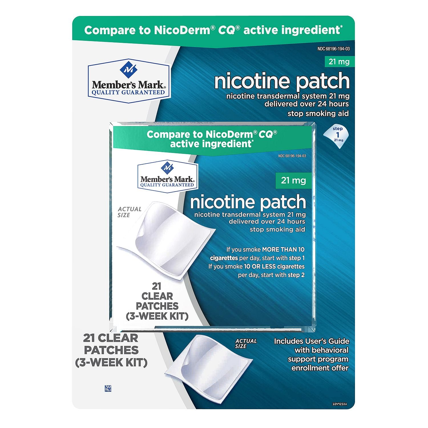 Member's Mark 21mg Nicotine Patch, Step 1 (21 ct.) (pack of 6)