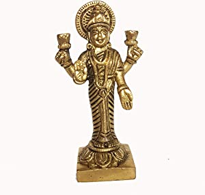 CollectionsAroundTheWorld 3x2 inches Goddess Mahalaxmi Ma Laxmi Laxhmi Goddess of Fortune Lakshmi Brass Metal Carved Small Statue Sculpture Idol for Health Wealth Prosperity & Happiness