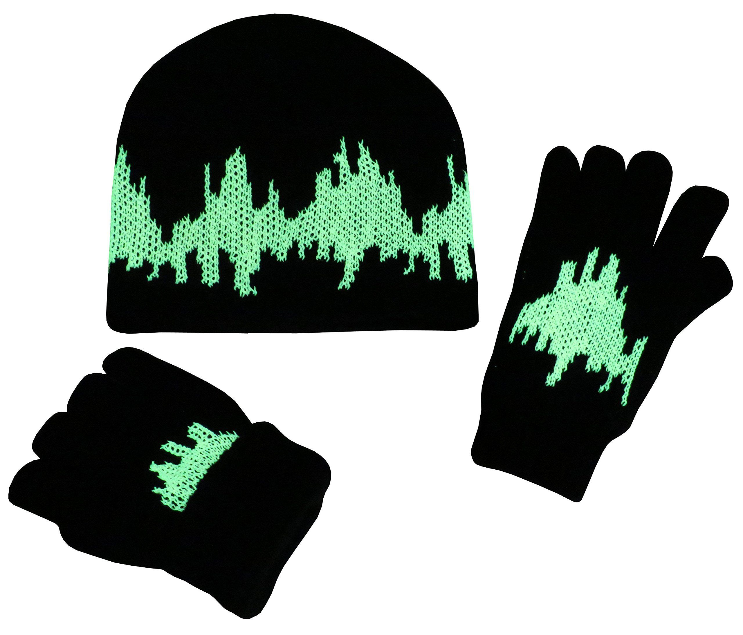 N'Ice Caps Big Kids 7-10 Years Glow in the Dark Knitted Hat and Glove Set (7-10 Years, Black/Silver)