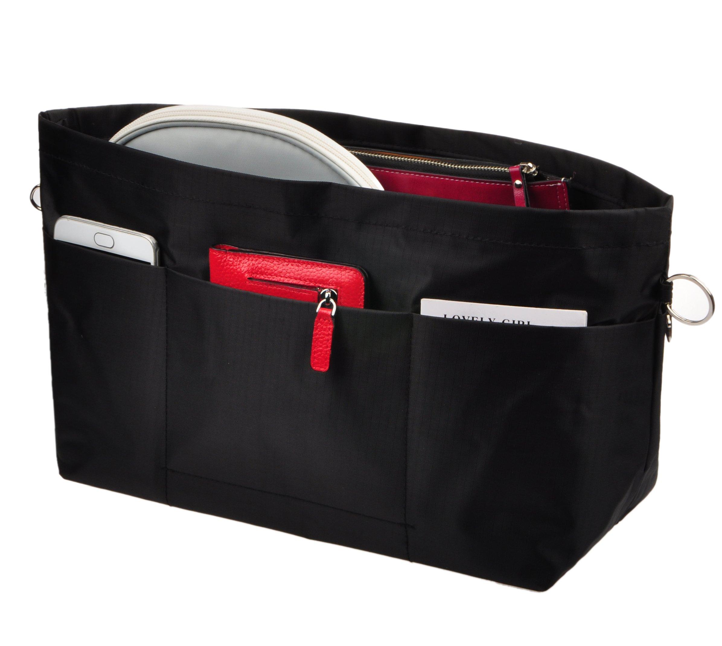 Vercord Handbag Purse Tote Pocketbook Organizer Insert Zipper Clousure 11 Pockets, Black M