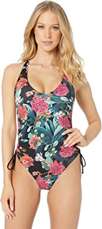 197a581b4d Amazon.com  Body Glove Women s Missy Ruched Side V-Neck One Piece ...