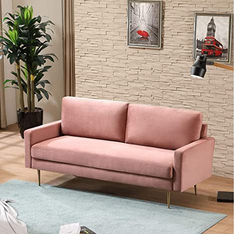 Amazon.com: Modern Loveseat Sofa Couch Lounger Suede Cushions Living Room Small Apartment Home Furniture 73 Inch,Pink: Kitchen & Dining