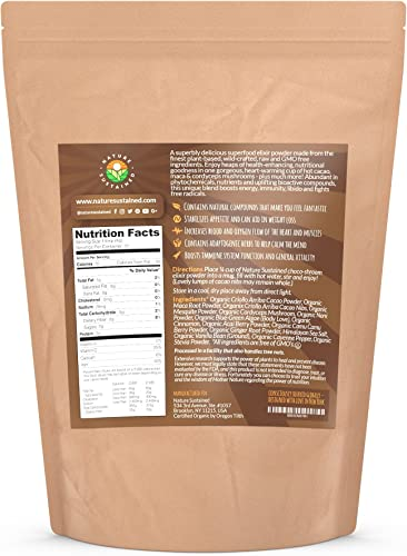 Mushroom Hot Chocolate Superfood Elixir Raw Wildcrafted Superfood Powder Blend USDA Organic Raw Supplement Vegan Chocolate Mushroom Powder 7 Oz 22 Servings