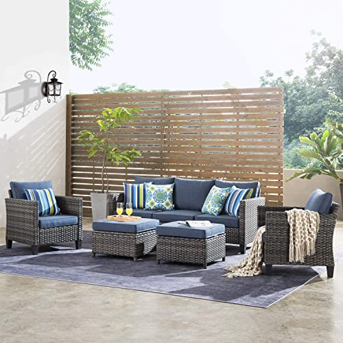 ovios Patio furnitue, Outdoor Furniture Sets,Morden Wicker Patio Furniture sectional with Table and Pillow,Backyard,Pool Grey-Denim Blue