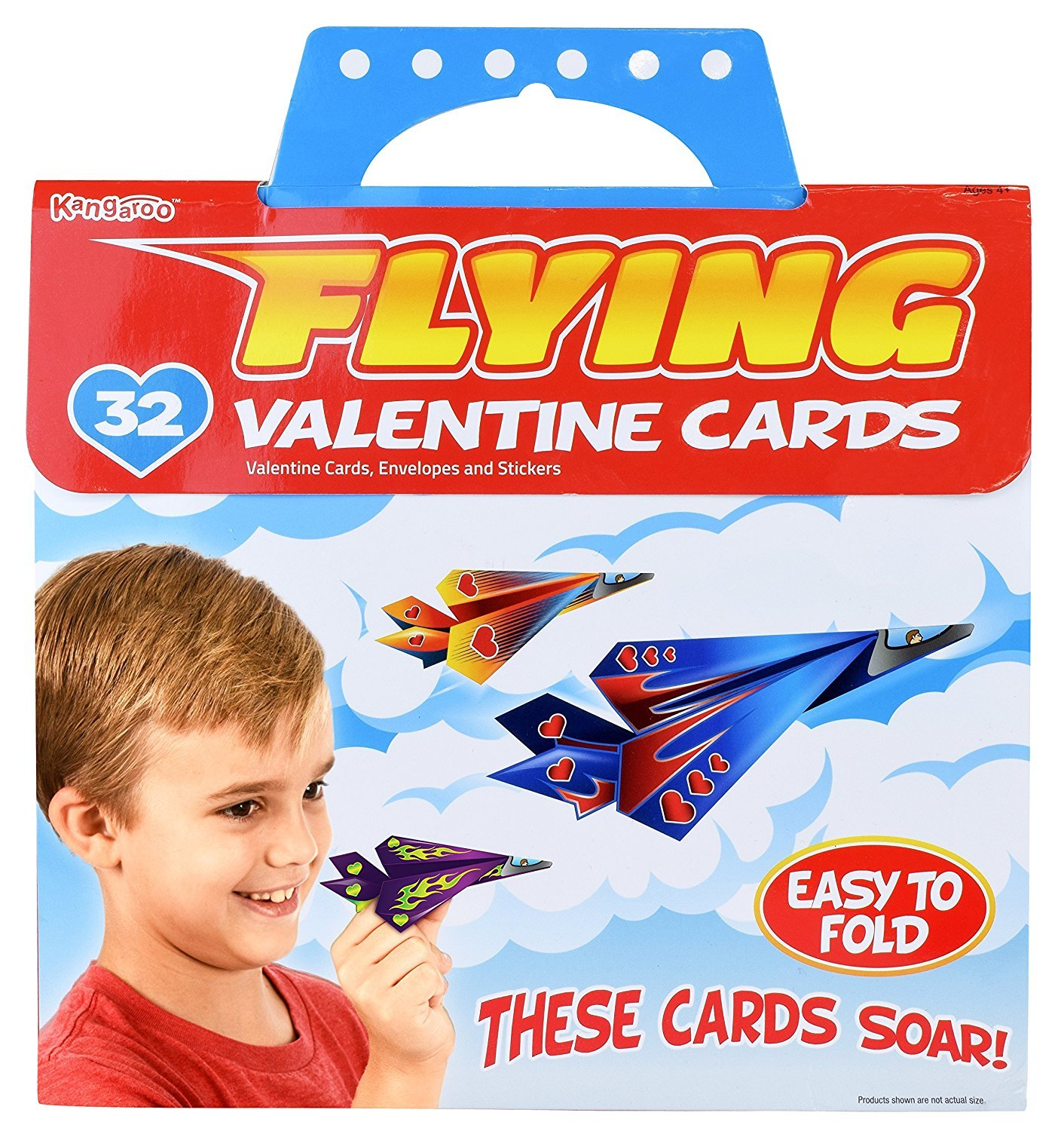 Kangaroo's Flying Paper Airplanes; (32-Count) Valentine's Day Cards For Kids Kangaroo Manufacturing 4336865244