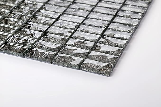 Azulejos de mosaico de cristal alfombrilla gris con textura efecto ...