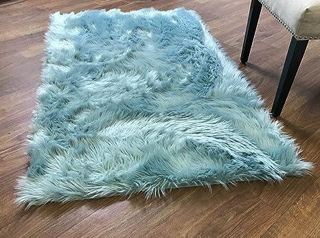 Super Area Rugs Soft Faux Fur Sheepskin Shag Silky Rug Baby Nursery  Childrens Room Rug Teal, 3\' x 5\'