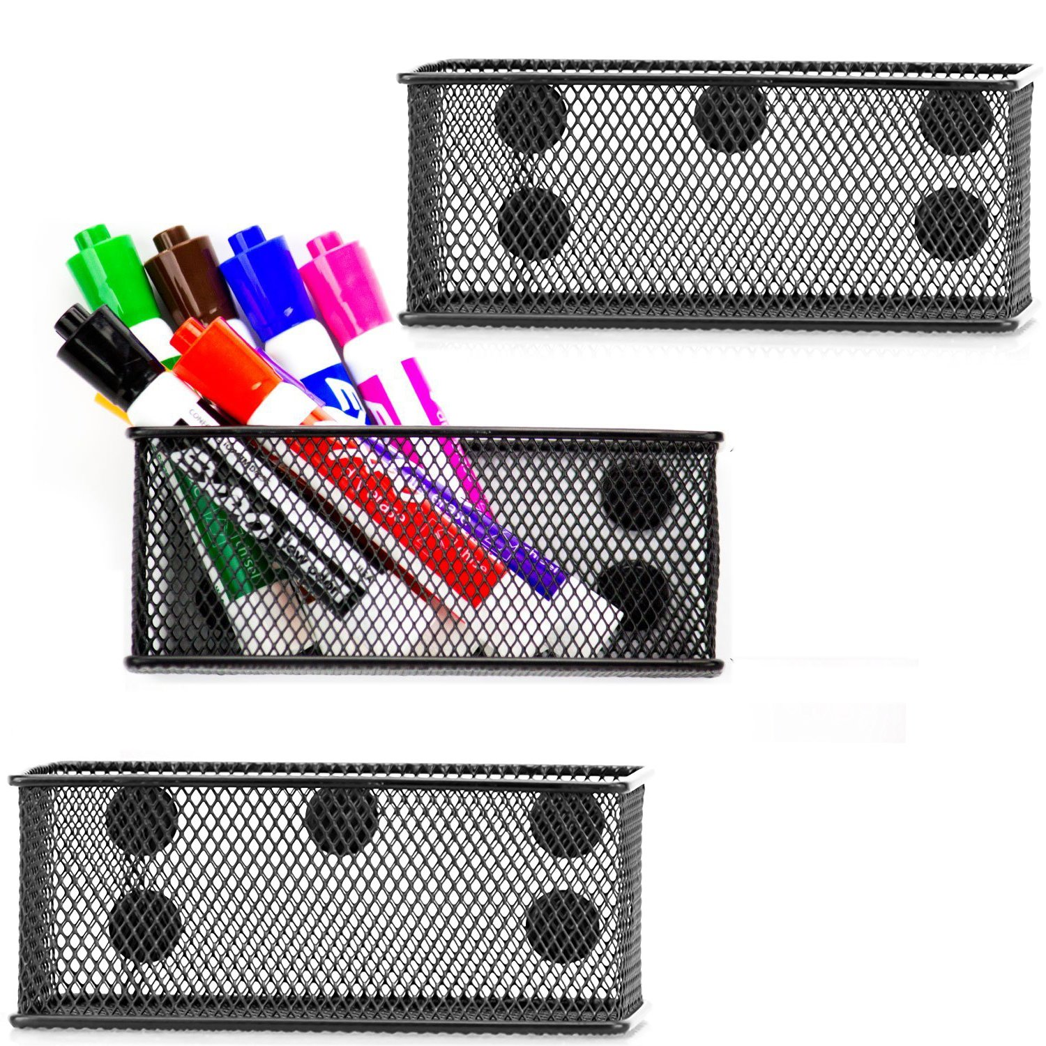 Easepres Wire Mesh Magnetic Organizer Set of 3 - Black Magnetic Storage Baskets with Strong Magnets Perfect for Whiteboard, Refrigerator and Locker Accessories