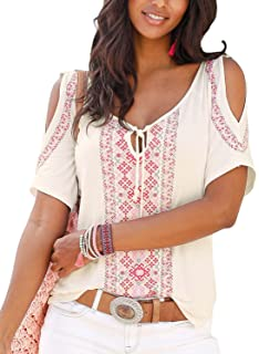 TWGONE Cold Shoulder Tops for Women Short Sleeve Bohemian O Neck Lace Patchwork Tee Shirt Blouse 2018-2019 spring summer
