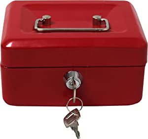 Royal Brands Cash Box with Key Lock, Portable Metal Storage Box, Money Box w/Double Layer 2 Keys for Security, Festivals, Fundraisers, Garage/Yard Sales (Red, S 6x4.5x3 in)