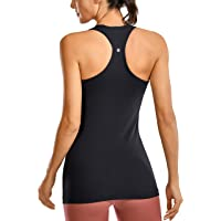 CRZ YOGA Racerback Workout Tank Tops for Women Long Athletic Yoga Tops Sleeveless Shirts Slim Fit
