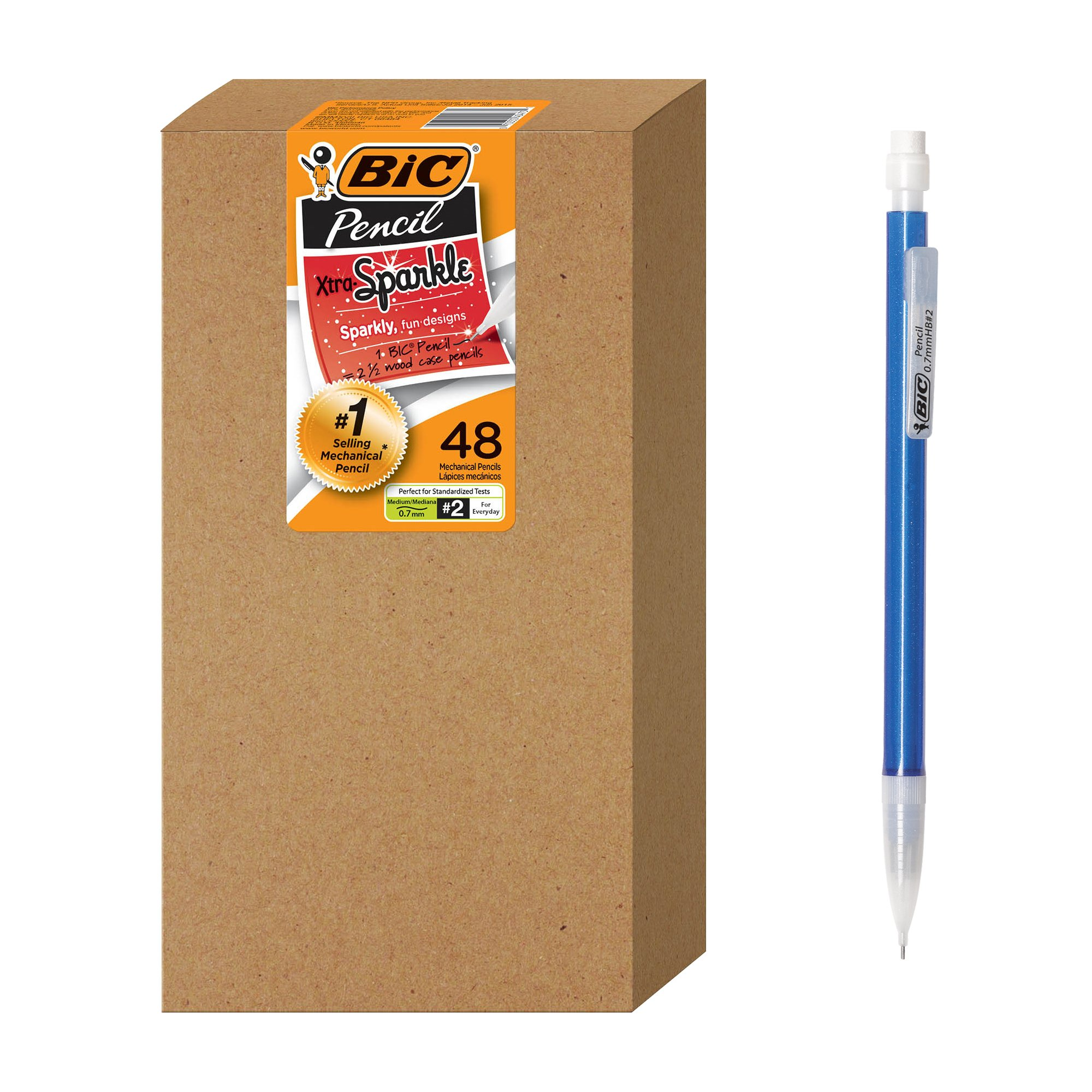 BIC Xtra Sparkle Mechanical Pencil, Colorful Barrel, Medium Point (0.7 mm), 48-Count by BIC (Image #1)