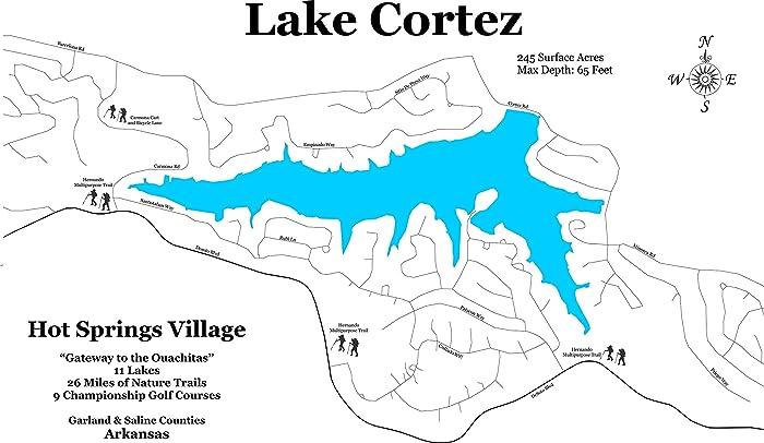 Amazon.com: Lake Cortez, Arkansas: Standout Wood Map Wall Hanging ...