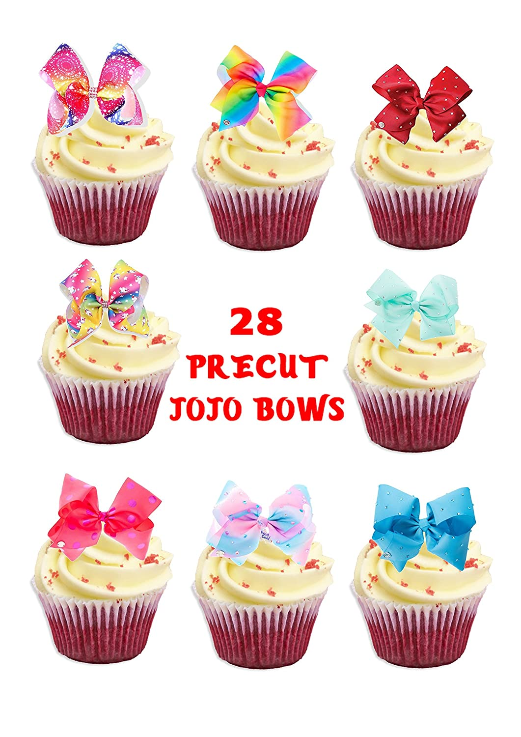 28 x JoJo Bows Bow Stand UP precut Edible Cupcake Topper Birthday Cake Topper channys cake toppers