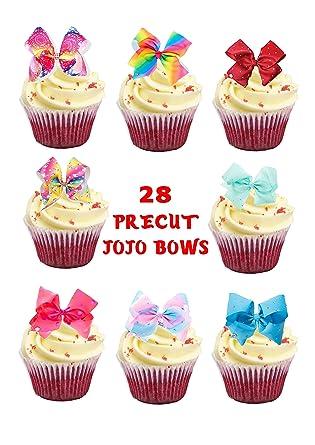 28 X JoJo Bows Bow Stand UP Precut Edible Cupcake Topper Birthday Cake