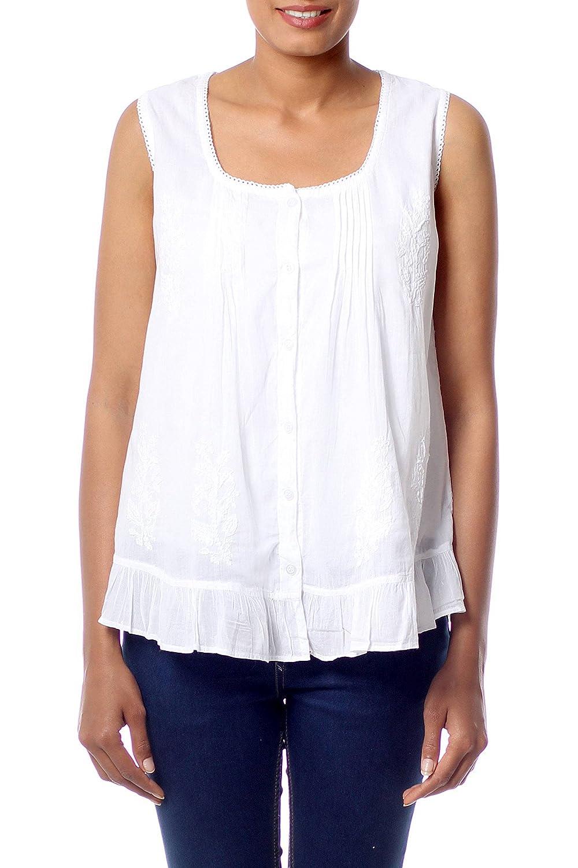 49a13ec031871b Amazon.com: NOVICA White Cotton Blouse, Morning Cloud': Clothing