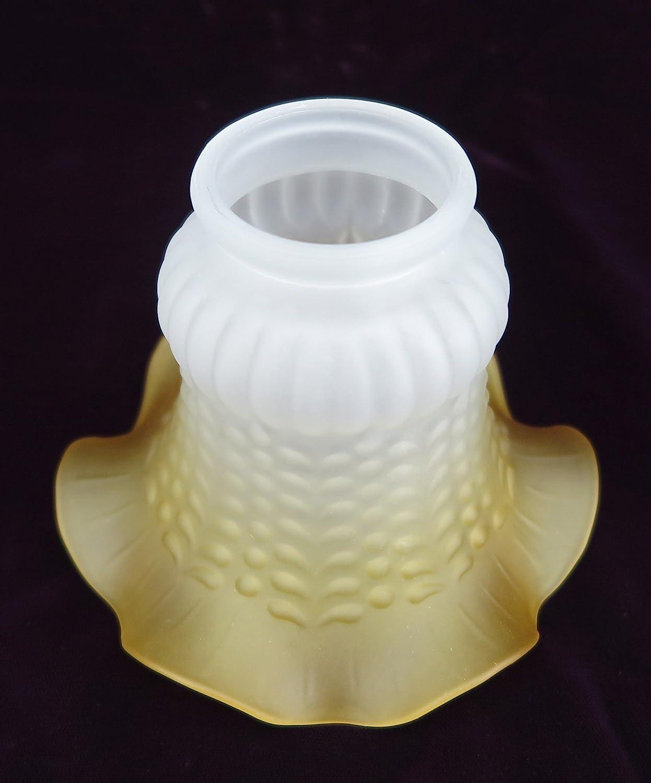 Lampenschirm antik-Stil wei/ß Glas Glasschirm kegelf/örmig Milchglas matt Jugendstil Gelb Braun