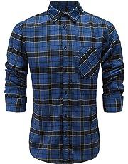 Emiqude Men's Slim Fit 100% Cotton Long Sleeve Plaid Button Up Dress Shirt
