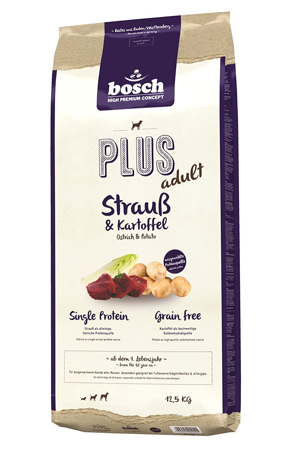Bosch Plus Dog Food, Ostrich and Potato, 12.5 kg