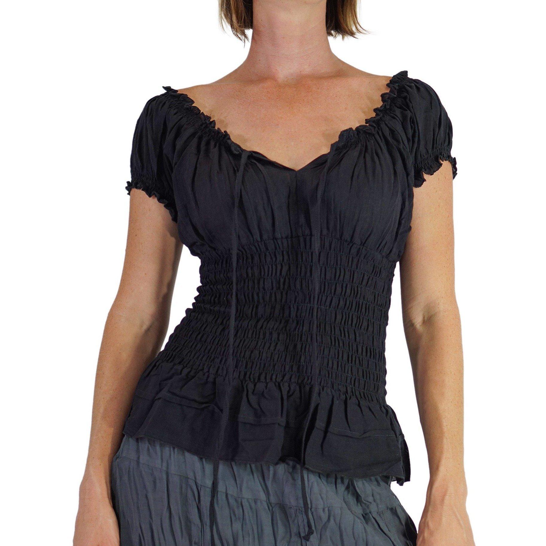 zootzu 'SS Peasant Blouse', Renaissance Clothing, Gypsy, Boho Shirt, Chemise - Black