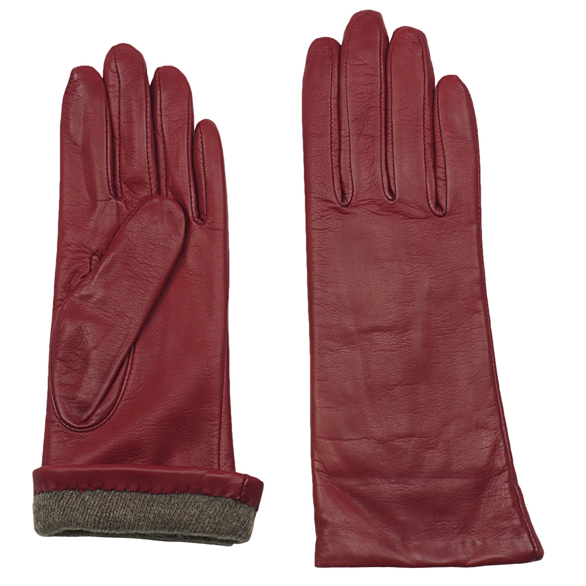 GRANDOE Women's MELODY Sheepskin Leather Glove, Warm Cashmere Lined 3 btn length (Red, X-Large)