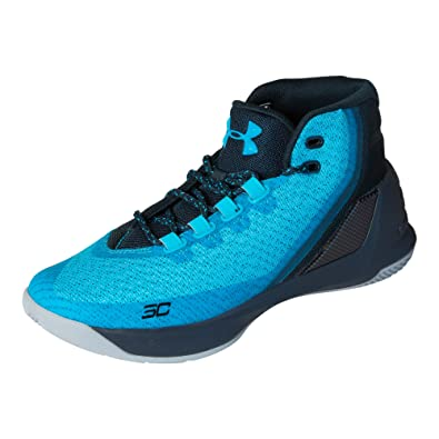 Under Armour Boys' Grade School UA Curry 3 Basketball Shoes, Island Blue/ Blue