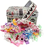 Wonder Clips Sewing Clips for Sewing for Crafting Quilting 100 Packs with tin Box Quilting Quilt Clips Fabric Clips Binding Clips no pins Clips for Crochet Knitting Safety Clips.