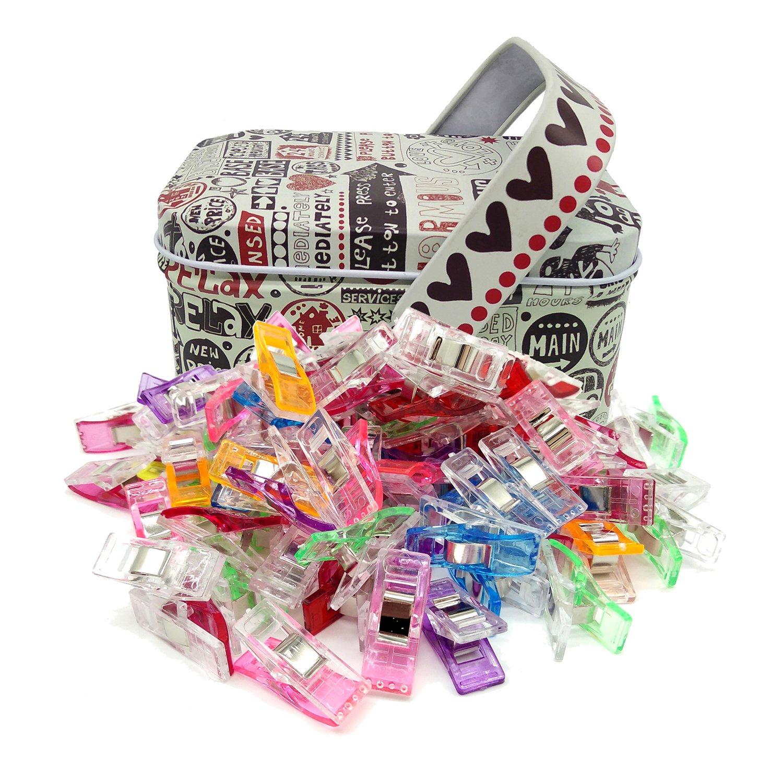 Cucito Clip da cucito multiuso Fantastiche clip da cucito,100 Pezzi Clip Plastica 6 Colori Multiuso per Cucire Clip Craft Accessori per Cucito, Quilting,in scatola di latta Bingolar