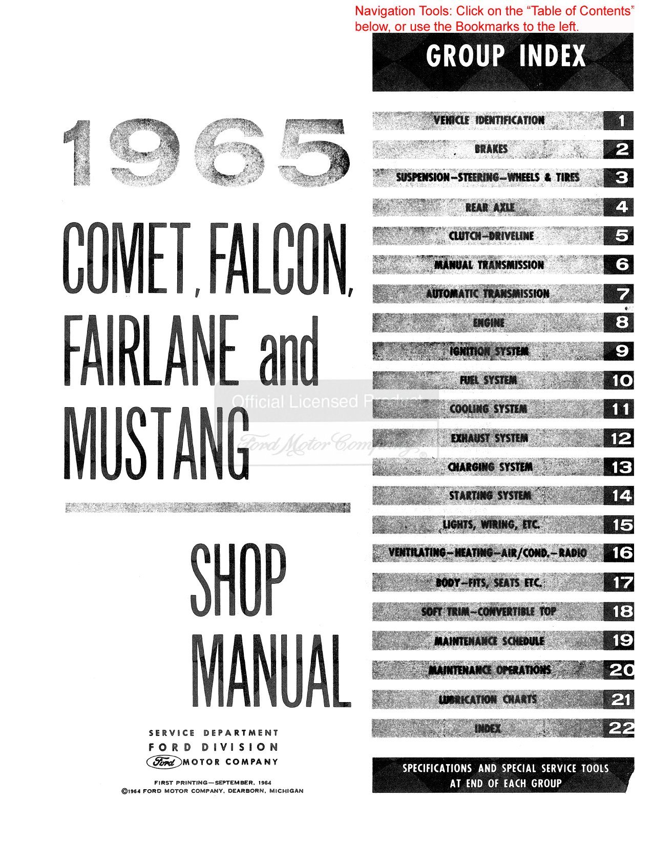 1965 Comet, Falcon, Fairlane and Mustang: Shop Manual: Amazon.es: Ford Motor Co: Libros