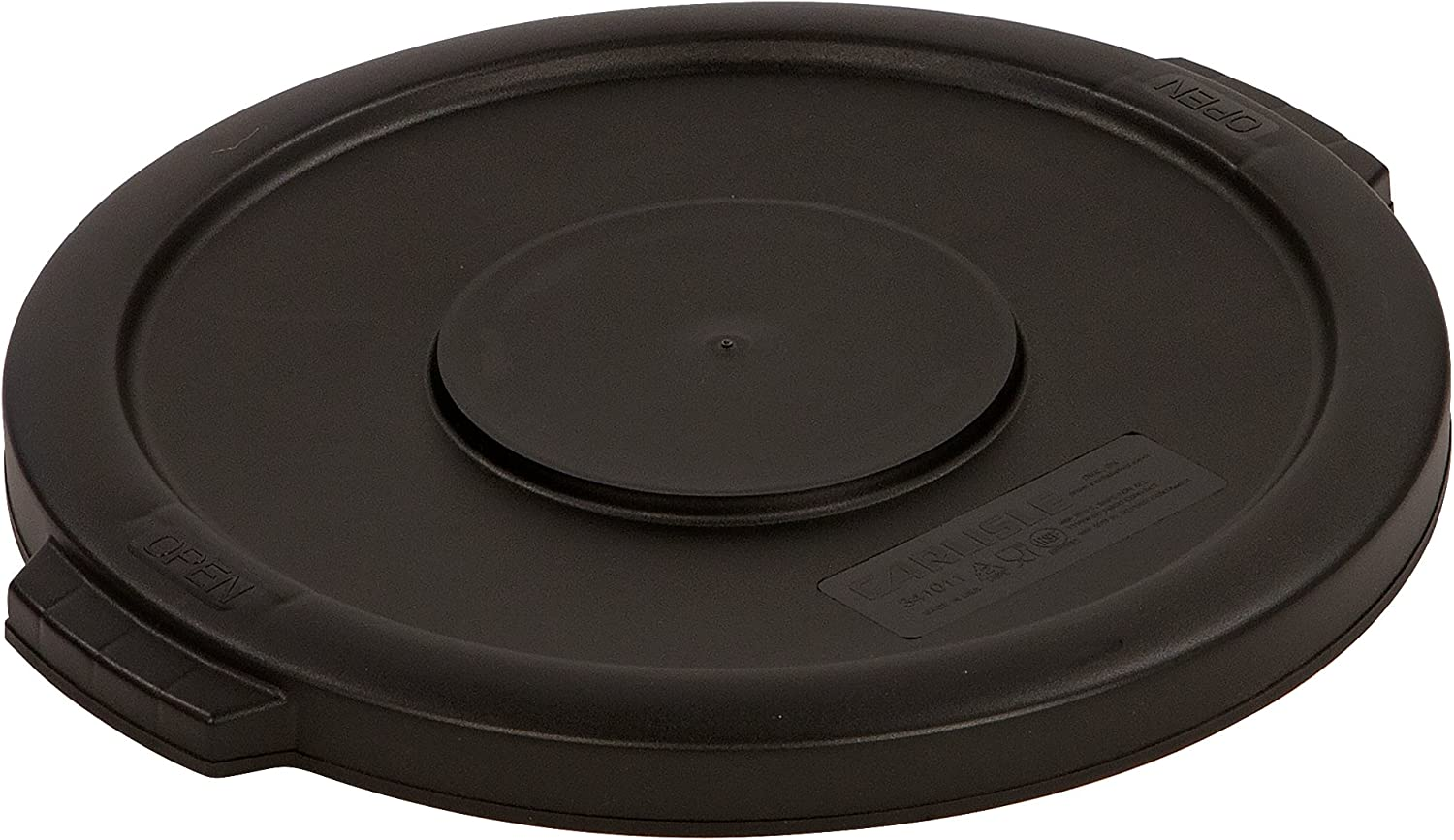 Carlisle 34101103 Bronco Round Waste Bin Food Container Lid, 10 Gallon, Black