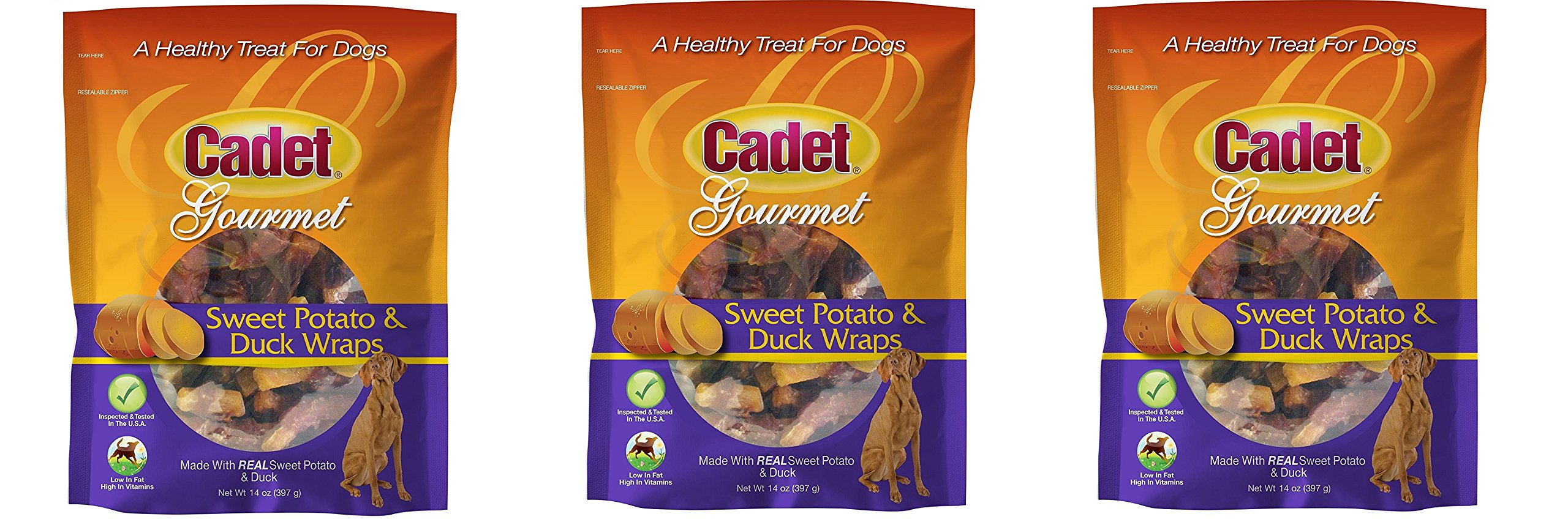 Cadet 3 Pack of Gourmet Sweet Potato and Duck Wraps Dog Treats, 14 Ounces Per Pack
