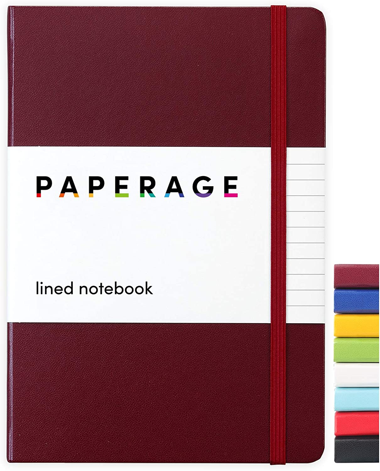 Paperage Lined Journal Notebook, Hard Cover, Medium 5.7 x 8 inches, 100 gsm Thick Paper (Burgundy, Ruled)