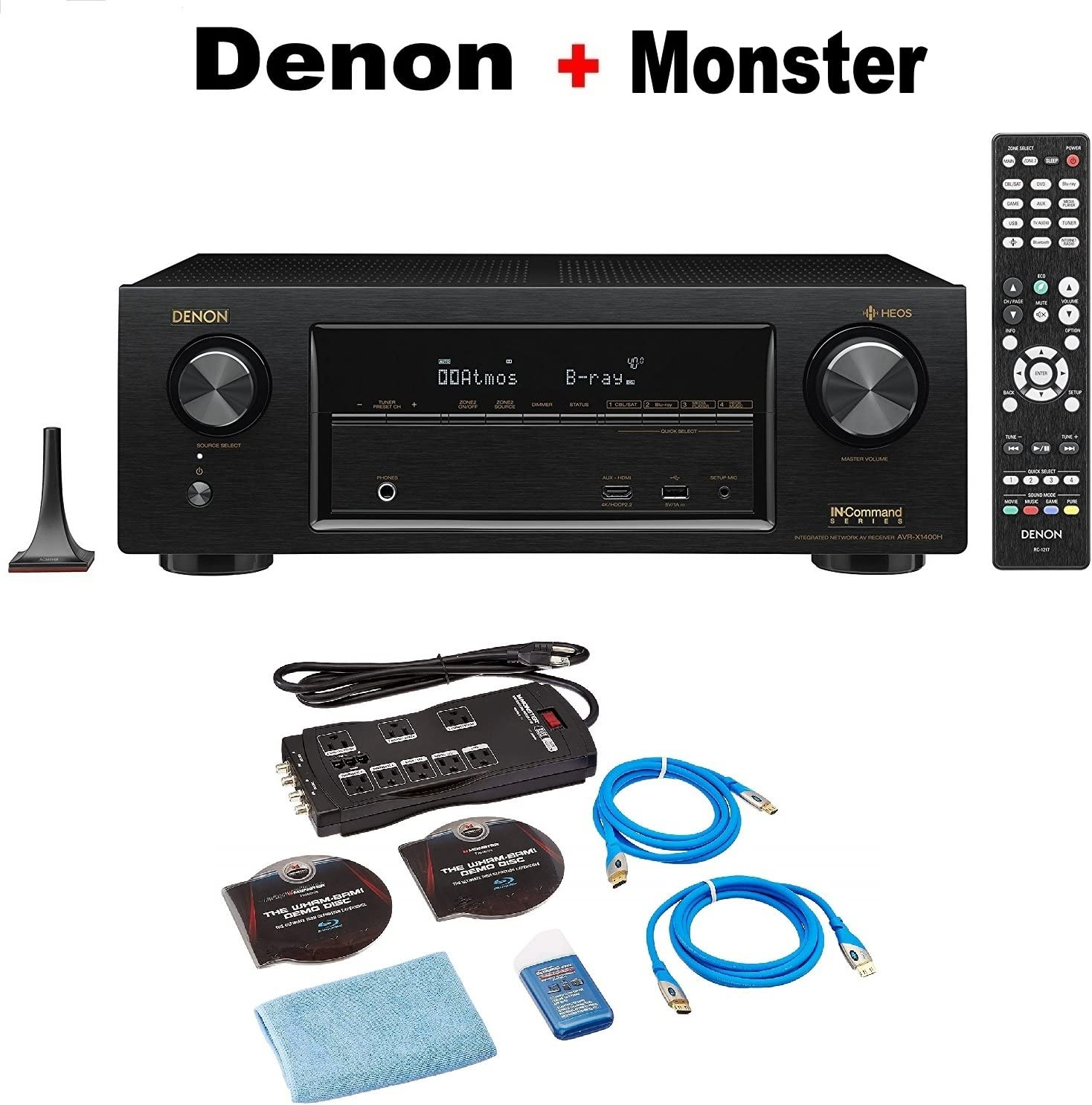 Denon AVR-X1400H 7.2 Channel Full 4K Ultra HD AV Receiver with Wi-Fi, Dolby Atmos, DTS:X, HEOS and Bluetooth + Monster Home Theater Accessory Bundle