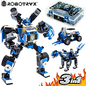 JITTERYGIT Robot STEM Toy Figure | 3 in 1 Fun Creative Set | Construction Building Toys for Boys and Girls Ages 6-14 Years Old | Best Toy Gift for Kids | Free Poster Kit Included