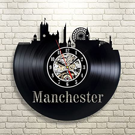 Manchester Gift Art Wall Clock Decor Vintage Black Vinyl Room ...