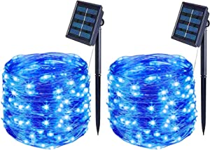 Solar String Lights Outdoor Waterproof, BOLWEO 2 Pack 39.4Ft 120LED Blue Solar Fairy Lights, Starbright Rope Solar Powered Decorative Outside Home Garden Christmas Tree Yard Fence