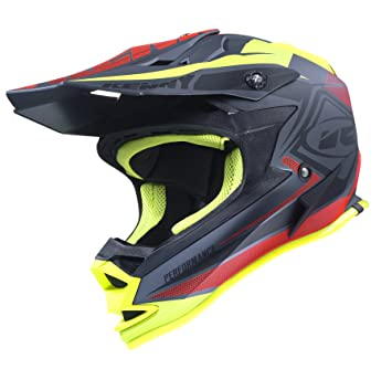 Casco Kenny Performance Negro Mate Rojo Amarillo 2017