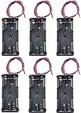 WAYLLSHINE 6PCS 2 x 1.5V AAA Battery Spring Clip Black Plastic 2 x 1.5V AAA Battery Case Holder Box Black Red Wire Leads