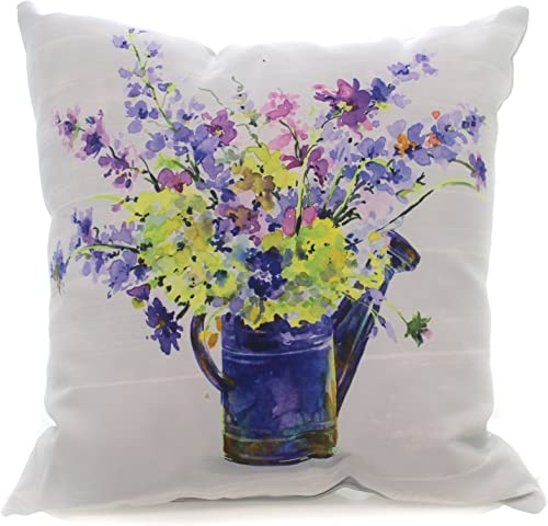 Home Garden PURPLE FLOWERS WATERING CAN PILLOW Fabric Climaweave Slbcan