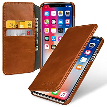coque porte carte cuir marron iphone xs