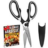 Kitchen Shears Scissors - Stainless Steel Kitchen Shears - Professional Poultry Scissors - Best Kitchen Shears for Meat Chicken Turkey - Fishing Scissors - Kitchen Shears Scissors Heavy Duty Black
