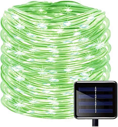 ZIYUMR Solar Rope Lights,65.6ft 20M 200 LEDs Solar String Lights Outdoor Waterproof Fairy Lights 8 Modes Solid Tube PVC Tube Light for Christmas Garden Fence Party Wedding Decor 20 M, Green